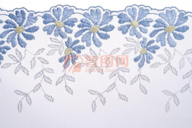 藍色花紋布料