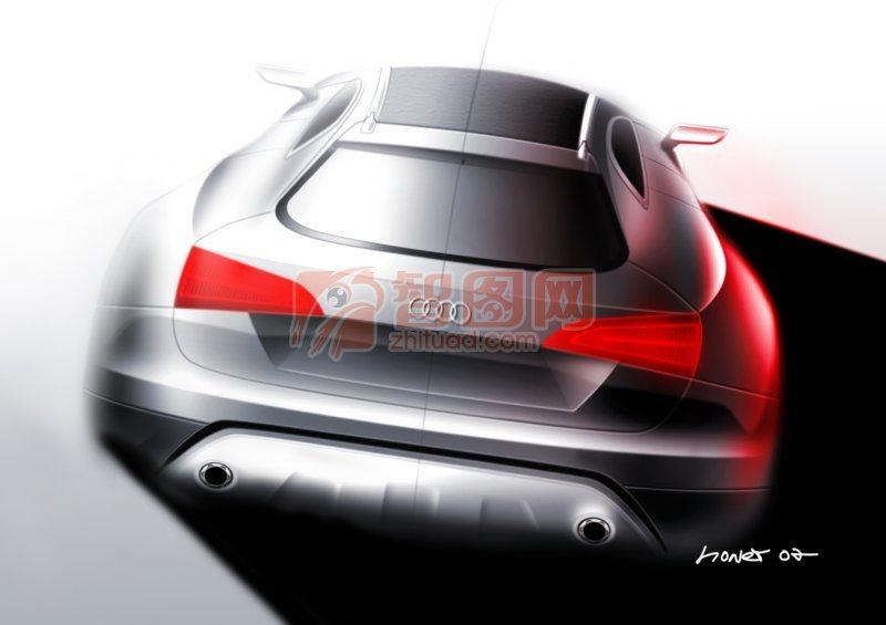 Coupe quattro轎車尾部攝影