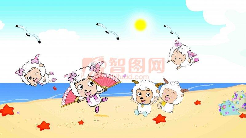 懒洋洋 美洋洋元素 psd分层素材 卡通素材 儿童卡通海洋沙滩 说明