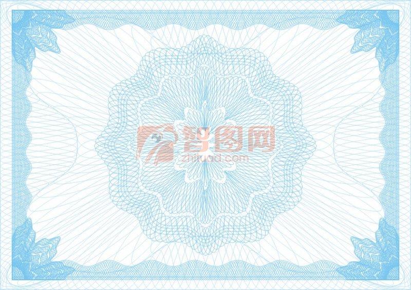 淺藍花美榮譽證書紋