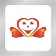 红色爱心笑脸标志 微笑脸标志 服务行业logo