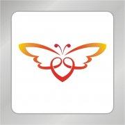 蝴蝶爱心标志 心形标志 飞舞蝴蝶标志