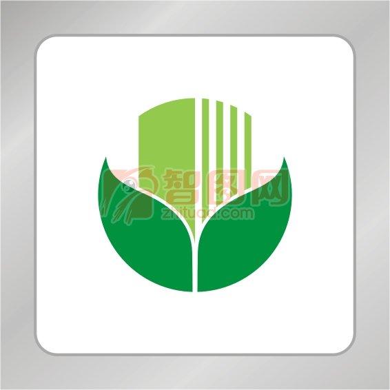 农业建筑标志 手形绿叶标志