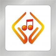 音乐创作标志 手捧音乐符号
