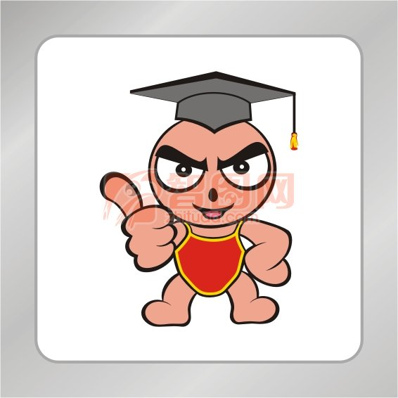 卡通小博士标志 第一 翘起大拇指