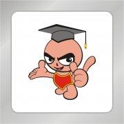 可爱卡通小博士 手势造型标志