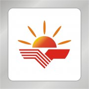 阳光合作标志 握手合作标志