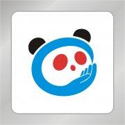 手捧熊猫头标志 熊猫标志