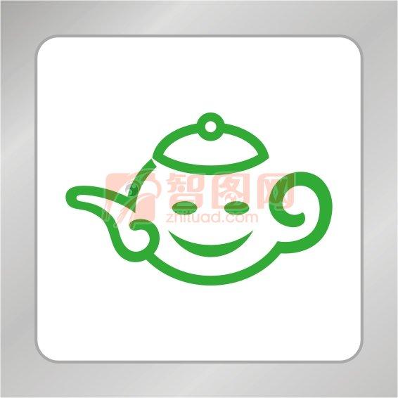 笑臉茶壺標志 卡通茶壺標志