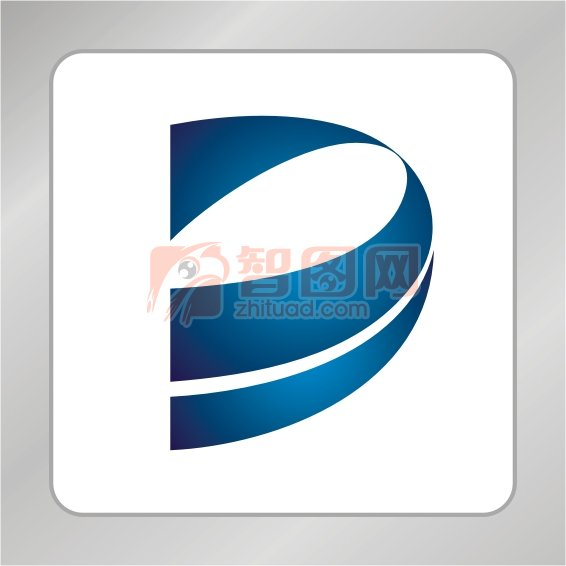 蓝色科技 D字母标志