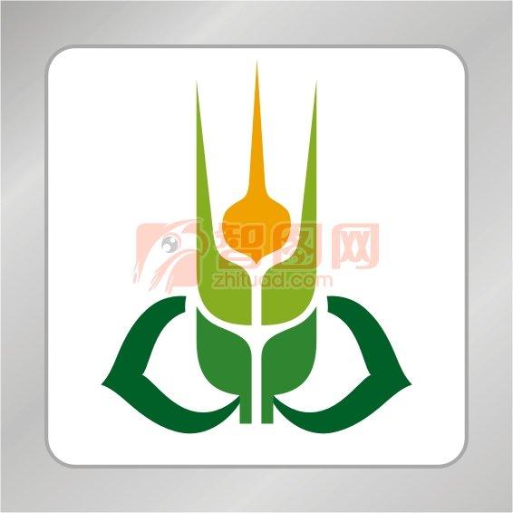 创意麦穗标志 桃心绿叶标志