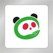 关爱熊猫标志 手捧熊猫logo