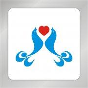 孔雀组合标志 爱心标志