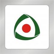 绿叶相连标志 红色太阳标志