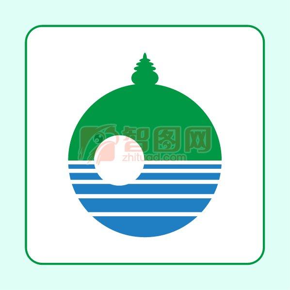 旅游山水景点标志 湖水倒影标志
