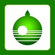 绿色旅游山水景点标志 湖水倒影标志