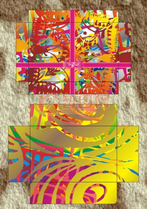 金花蝴蝶结鞋盒设计