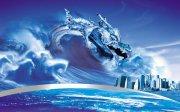 空中飞舞蓝色龙 水中盘旋龙
