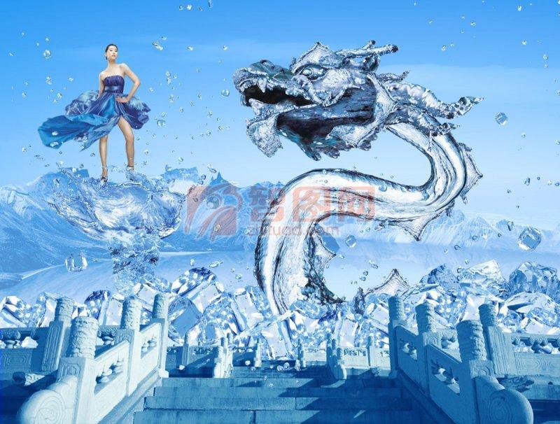 中国/关键词:蓝色经典中国蓝水龙龙创意蓝色背景经典图案冰爽城墙...