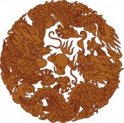 双龙戏珠矢量图 棕色龙