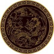 暗褐色雕刻飞龙 圆形龙图案
