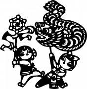 剪纸龙 儿童耍龙 向日葵 春节龙