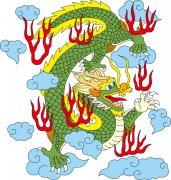 中国传统龙 绿色龙 祥云