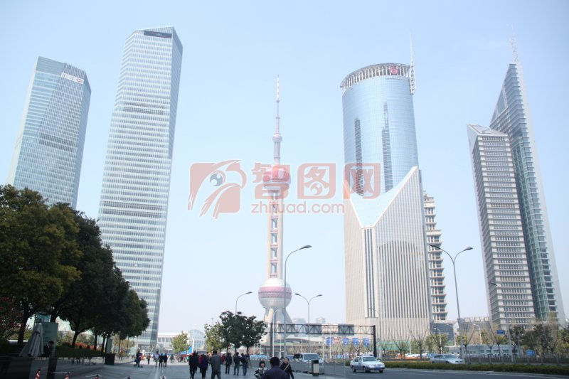 高清建筑 东方明珠塔 蓝色天空 高层建筑元素 建筑摄影素材 ppt设计