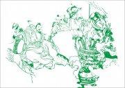 古代君臣饮酒作乐-手绘画