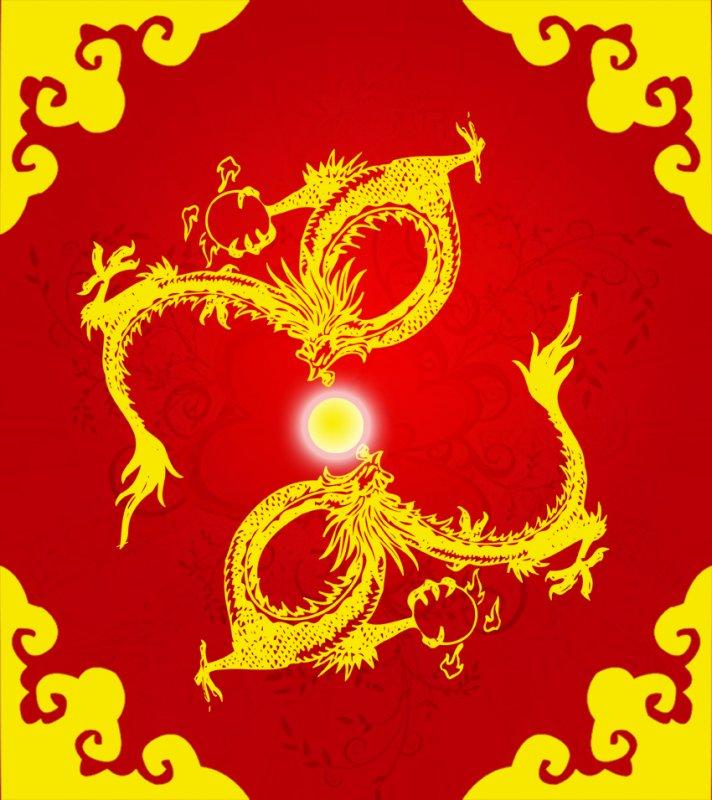 龙的铅笔画红色-中国红色长龙图案-2012龙年新春贺卡龙图案设计