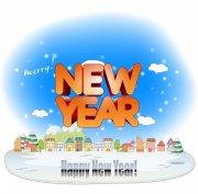 新年快乐字体设计展板素材