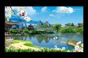 山水风景画湖边风景