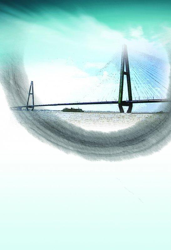水墨大桥元素 设计创意模板