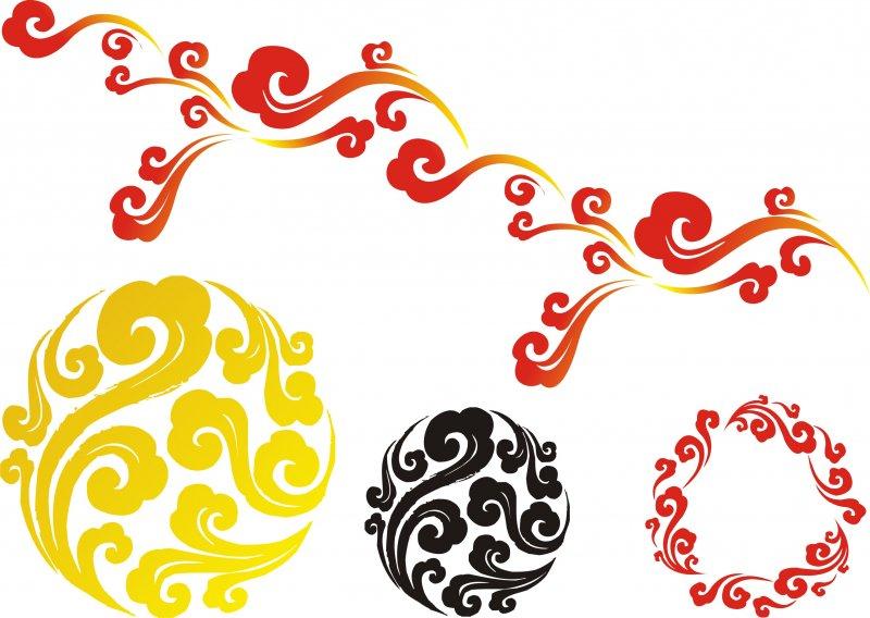 长条状 圆形 红色 黄色 黑色 传统 中国风 素材 纹样 图形 说明:-祥云