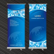 蓝色易拉宝X展架背景设计