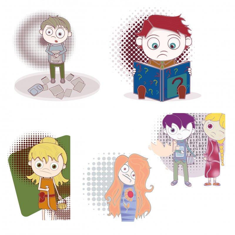 卡通小男孩小女孩插画矢量素材