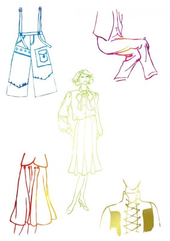 民族衣服简笔画-精致设计 服装草图