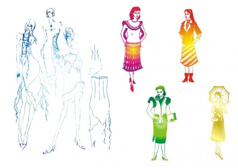 【cdr】美丽女子-服装设计