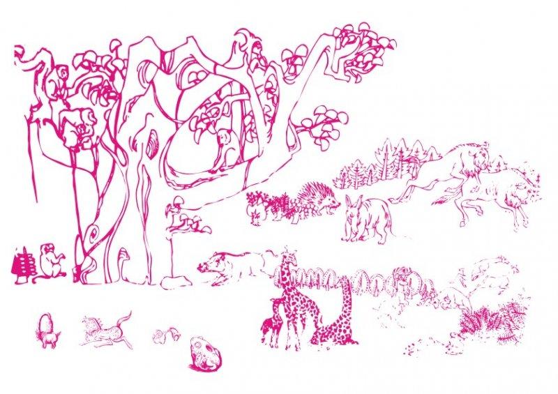 【cdr】榕树下各式动物-手绘画