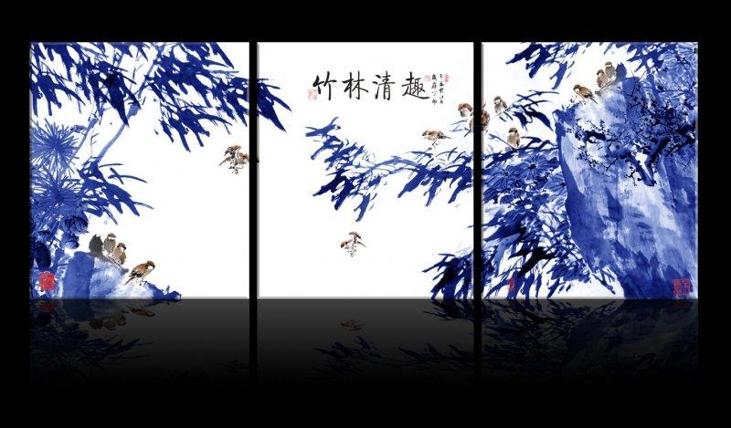 竹林清趣无框画