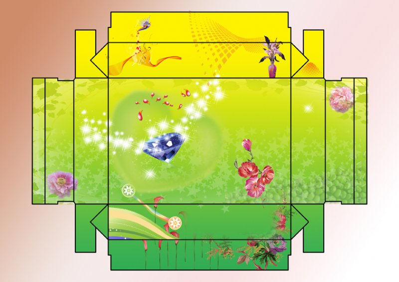 设计素材 时尚花纹 花盒 盒形 鞋盒 首饰盒 花盒 特殊盒子展开图 鲜