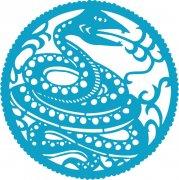 蓝色剪纸蛇