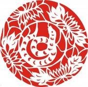 红色剪纸蛇