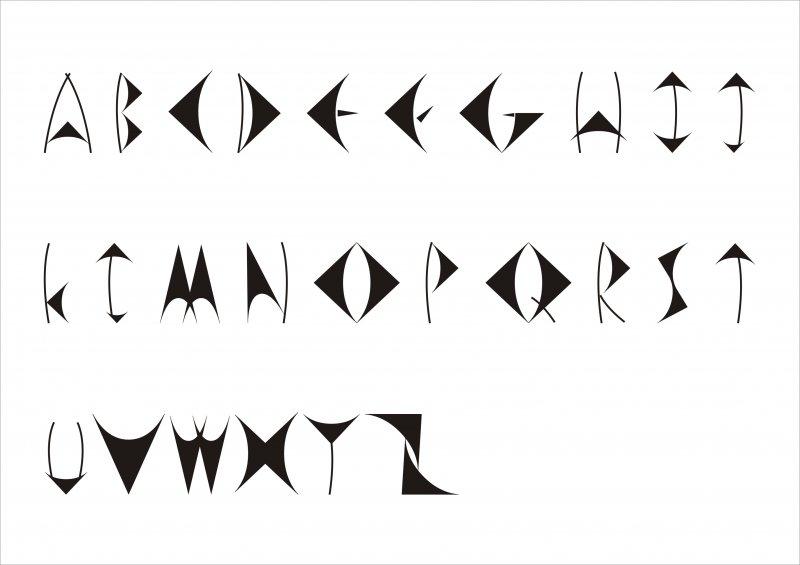 英文字体艺术三角字