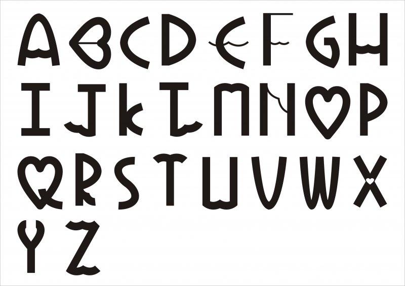 英文字体艺术心形字