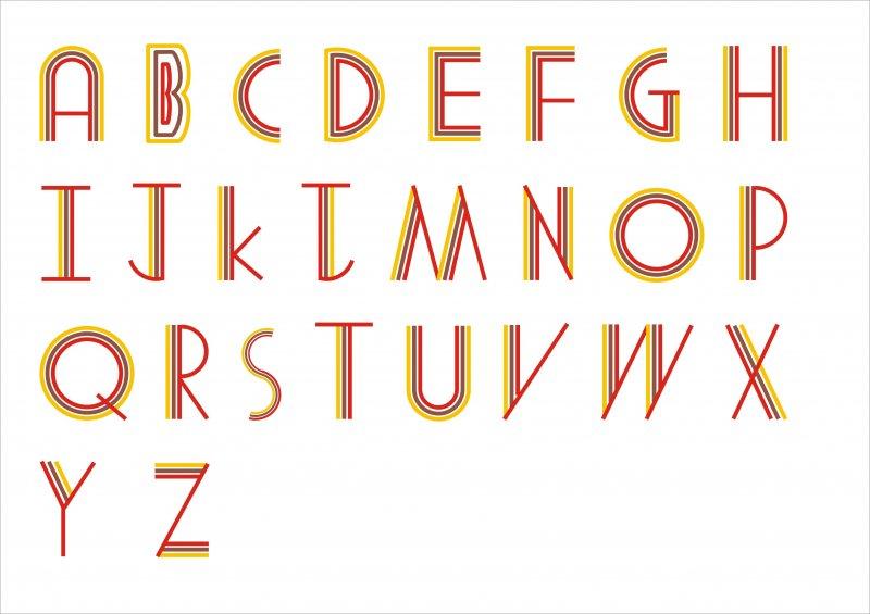 【cdr】英文字体艺术三色条纹字_图片编号:_智图网_.