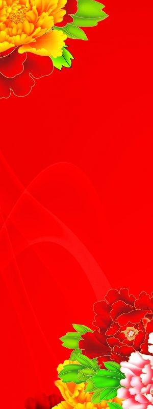 牡丹背景高清图片素材; 展架模板;; 富鑫电脑
