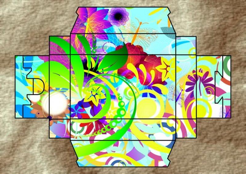 美丽 漂亮 元素 花盒 花 盒形展开图 化妆品盒 花布盒 花纹素材 花纹