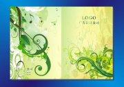 绿色背景花叶-画册封面