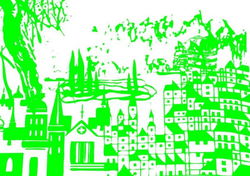 简写画 简笔画; 教堂房屋-文学插画; 笔画图 速写画 古画